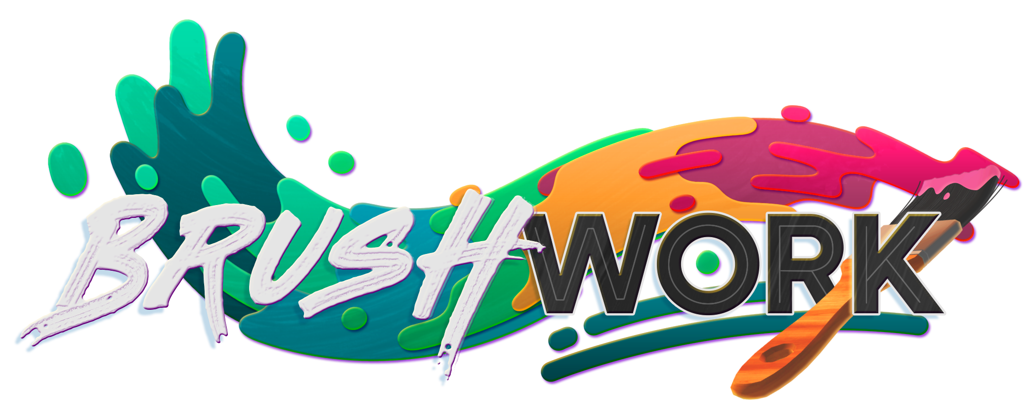 Brushwork logo, paintbrush with a rainbow gradient of paint